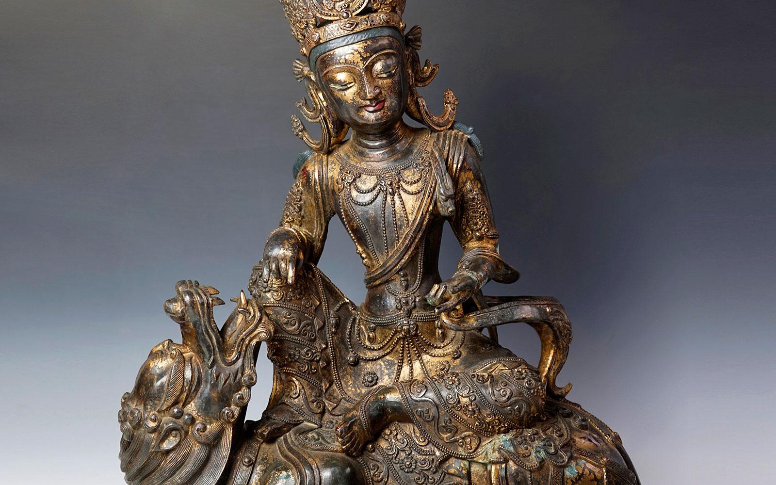 明早期 銅泥金加彩獅吼觀音像 Gilt-Lacquered Lion's Roar Avalokiteśvara Bodhisattva , Early Ming dynasty (c. 1400 CE), h59cm