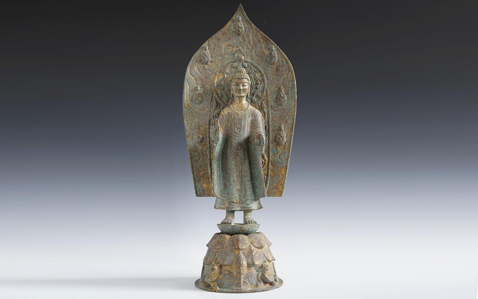 北魏 銅鎏金立佛 Gilt-bronze standing Buddha, Northern Wei (386-534 CE), h46cm
